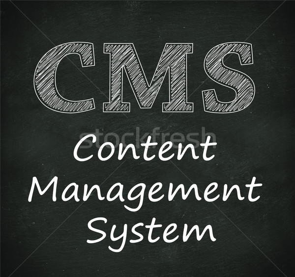 Chalkboard illustration of cms - content management system Stock photo © nasirkhan