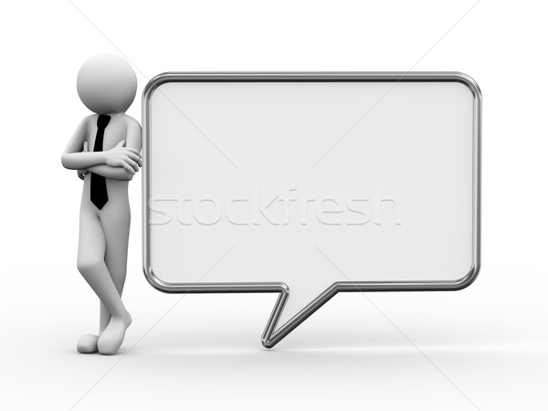 3d businessman with speech bubble illustration Stock photo © nasirkhan