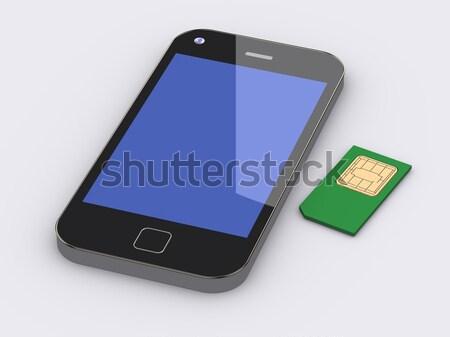 3d smart mobile phone and sim card Stock photo © nasirkhan