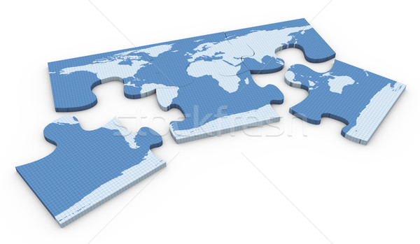 3d world map puzzle Stock photo © nasirkhan