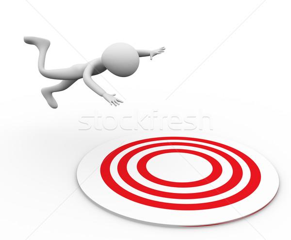 Uomo 3d cadere target bianco anello persona Foto d'archivio © nasirkhan