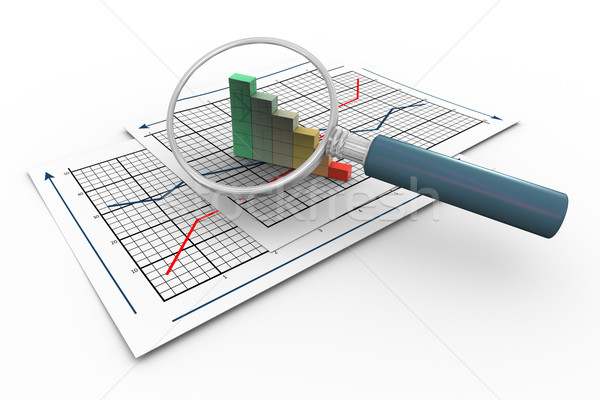 Stock photo: 3d magnifier and progress bars