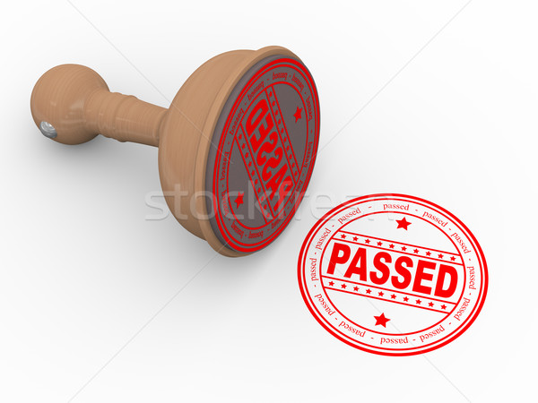 3d wooden rubber stamp passed Stock photo © nasirkhan