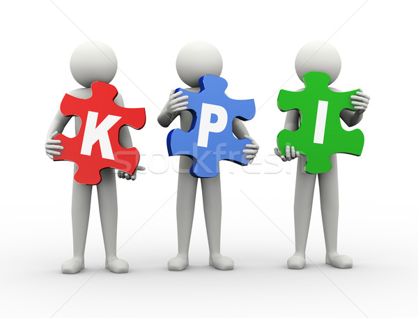 3d man puzzle piece - kpi Stock photo © nasirkhan