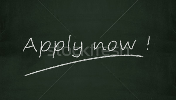 chalkboard apply now illustration Stock photo © nasirkhan
