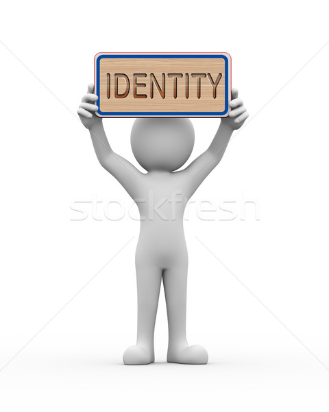 3d man holding engraved banner word text identity Stock photo © nasirkhan