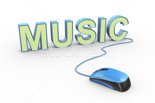 3d mouse attached to word text music Stock photo © nasirkhan