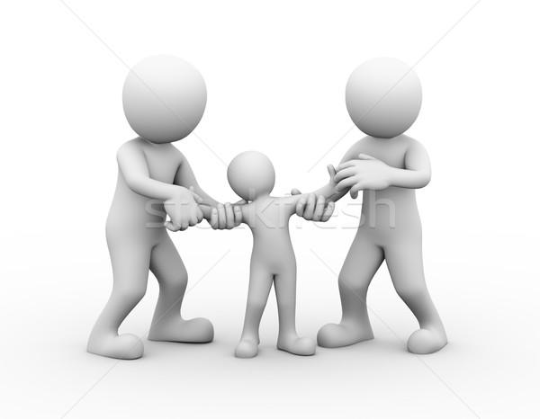 3D család vitatkozás pár gyermek őrizet Stock fotó © nasirkhan
