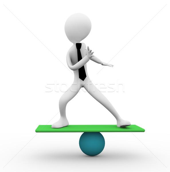 Saldo o homem 3d equilíbrio bola negócio homens Foto stock © nasirkhan