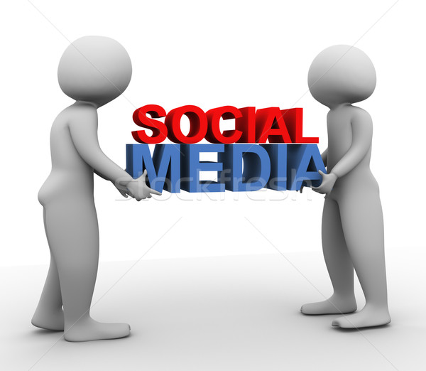 3d men with 'social media' Stock photo © nasirkhan