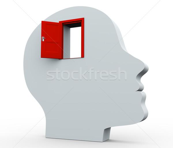 Stockfoto: 3D · hoofd · Open · deur · 3d · render · menselijke · hersenen