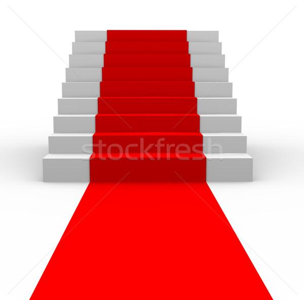 3D 階段 レッドカーペット 3次元の図 パーティ 映画 ストックフォト © nasirkhan