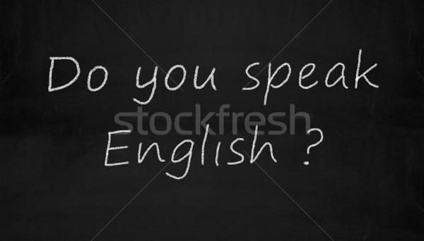 chalkboard do you speak english Stock photo © nasirkhan