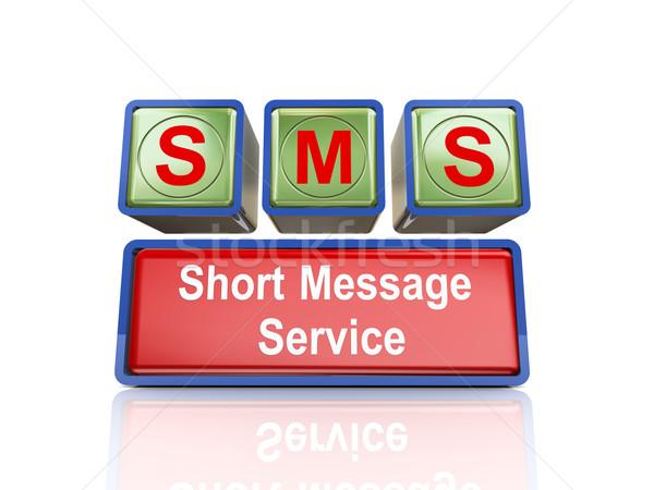 3D Boxen sms Rendering Stock foto © nasirkhan