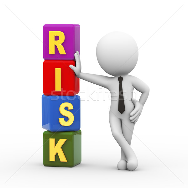 3d man and risk cubes Stock photo © nasirkhan