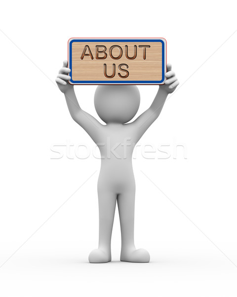 3d man holding engraved banner word text about us Stock photo © nasirkhan