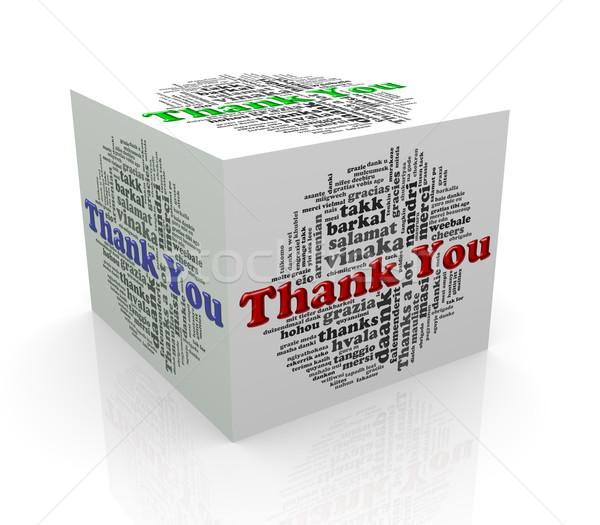 Foto stock: 3D · cubo · palabra · etiquetas · gracias