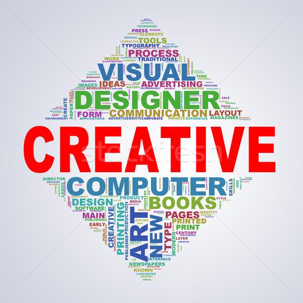Mirror triangle design wordcloud tags creative Stock photo © nasirkhan