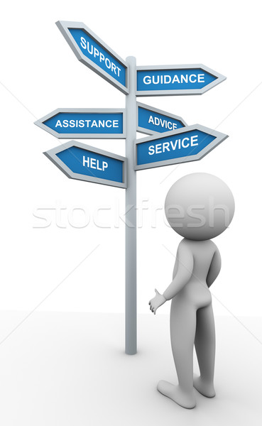 3d man and support signpost Stock photo © nasirkhan