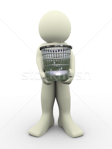 3d man atık sepet 3d illustration insan Stok fotoğraf © nasirkhan