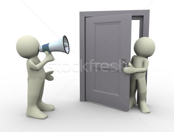ストックフォト: 3次元の男 · 発表 · ドア · 3dのレンダリング · 人