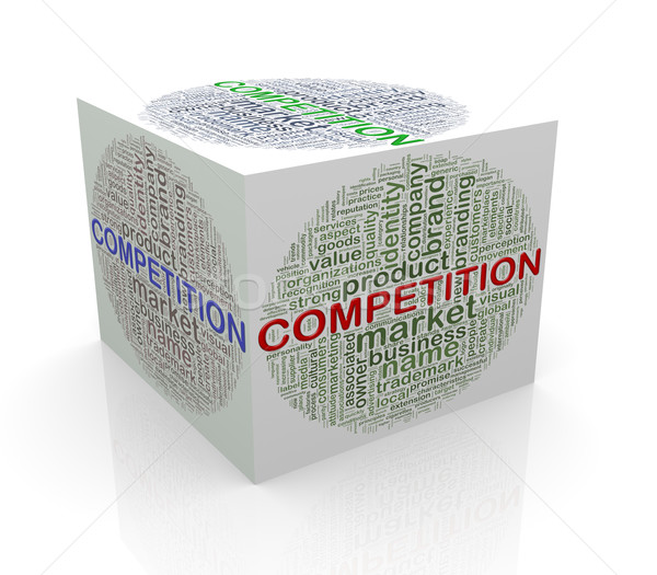3d cube word tags wordcloud of competition Stock photo © nasirkhan