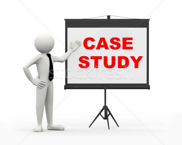 Stock photo: 3d businessman - case study
