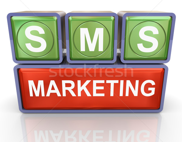 Sms marketing rendu 3d technologie réseau Photo stock © nasirkhan
