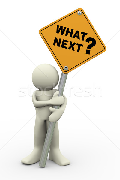 3d man with what next sign board Stock photo © nasirkhan