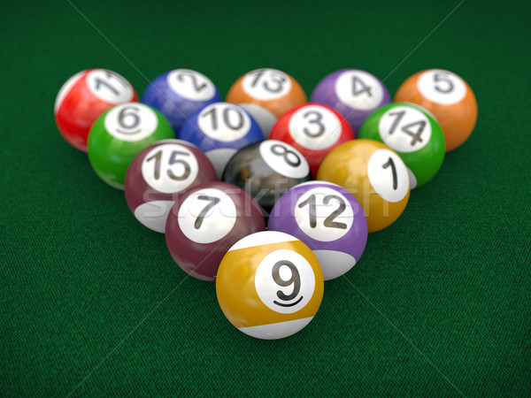 3d racked billiard pool balls Stock photo © nasirkhan