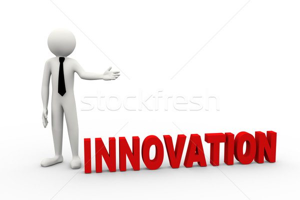 3d businessman with word innovation Stock photo © nasirkhan
