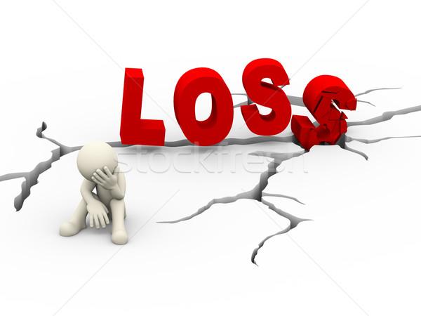 3D triest ontdaan man gebarsten woord Stockfoto © nasirkhan