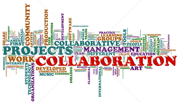 Collaboration mot illustration villes Photo stock © nasirkhan