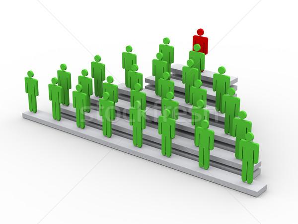 Stockfoto: 3D · leider · leiderschap · 3d · illustration · man · top