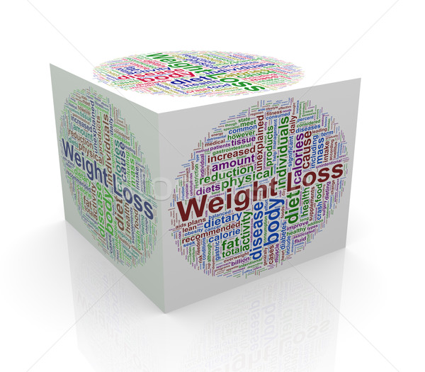 3d cube word tags wordcloud of weight loss Stock photo © nasirkhan