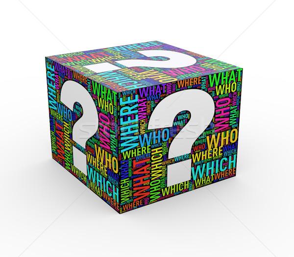 3d question mark wordcloud wordtags cube Stock photo © nasirkhan