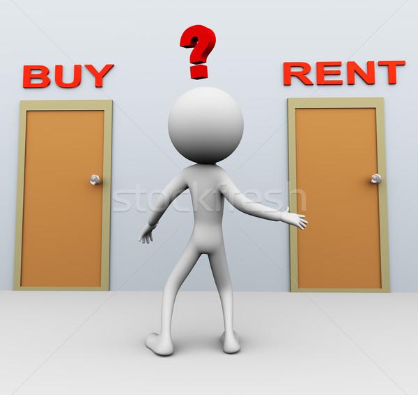 купить аренда сомнительный 3d человек решение человека Сток-фото © nasirkhan