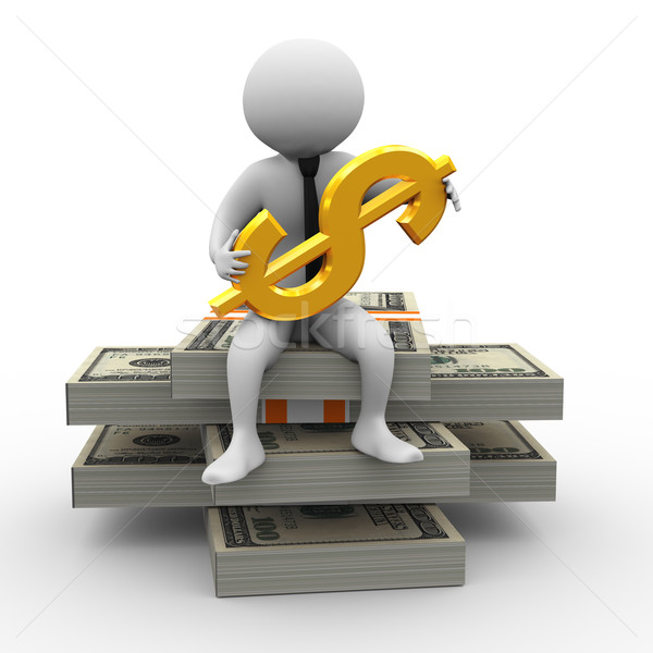 3D zakenman dollar 3d illustration man vergadering Stockfoto © nasirkhan