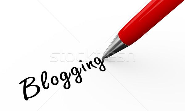 3D pióro piśmie blogging 3d biały Zdjęcia stock © nasirkhan