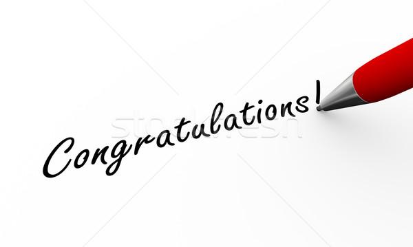 3D Stift schriftlich Glückwünsche Illustration Rendering Stock foto © nasirkhan