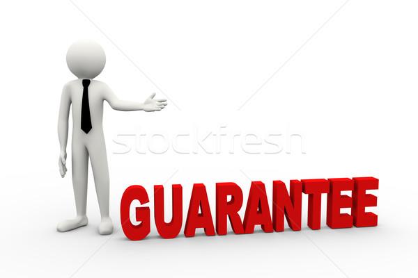 Stock fotó: 3D · üzletember · szó · garancia · renderelt · kép · üzletember