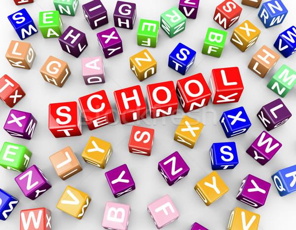 3D coloré blocs cubes mot école Photo stock © nasirkhan
