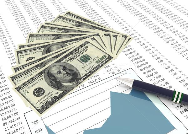 3D pióro Dolar zauważa arkusz kalkulacyjny tabeli Zdjęcia stock © nasirkhan