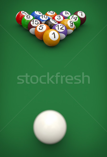 3d cue and pool balls Stock photo © nasirkhan