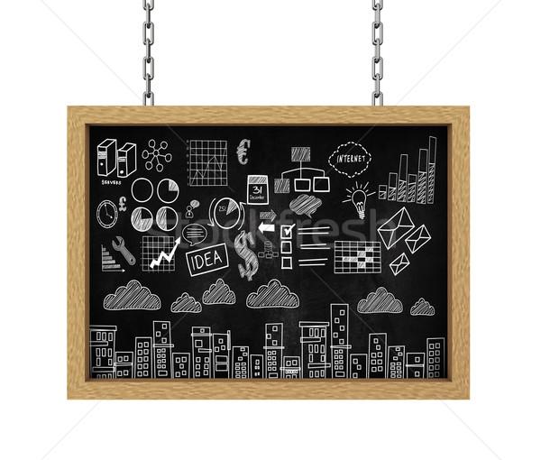 Foto stock: 3D · colgante · bordo · negocios · dibujo · boceto