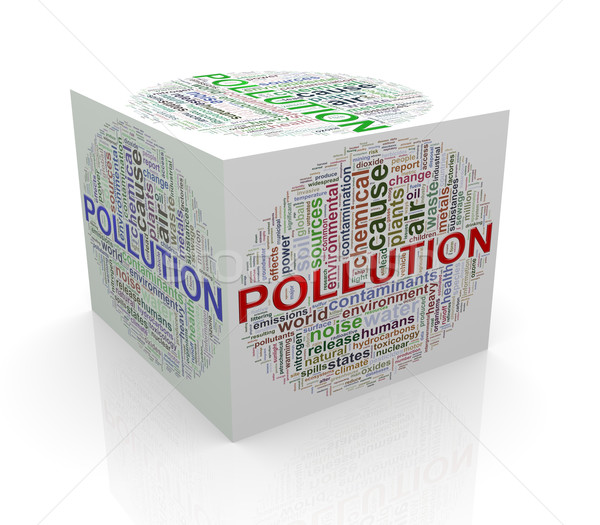3d cube word tags wordcloud of pollution Stock photo © nasirkhan