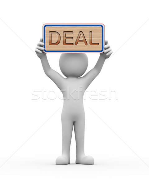 3d man holding engraved banner word text deal Stock photo © nasirkhan