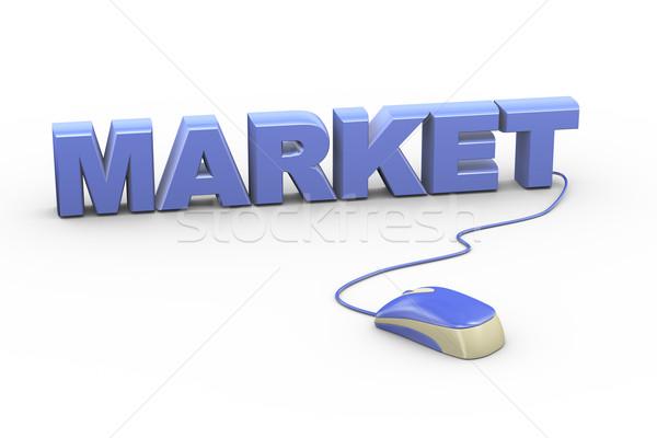 3D mouse anexada palavra texto mercado Foto stock © nasirkhan