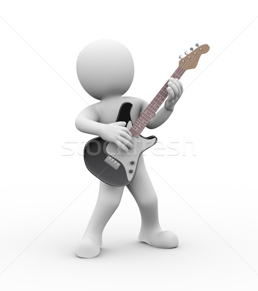 3d rock guitarist playing electric guitar Stock photo © nasirkhan