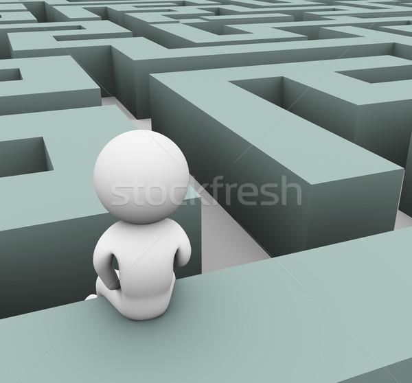 3d man verloren doolhof bevinding pad muur Stockfoto © nasirkhan